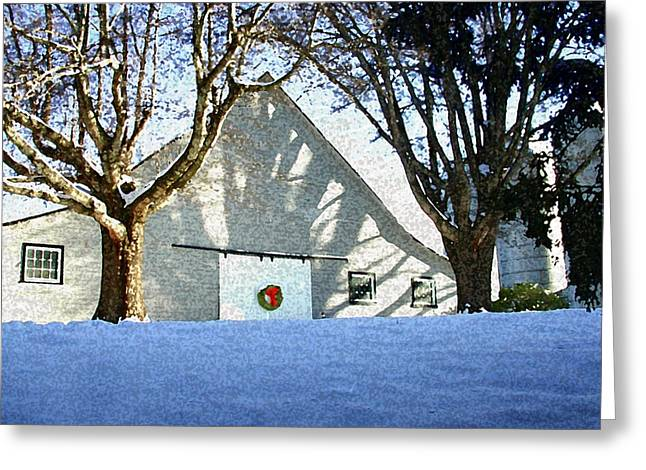 Barn Digital Art Greeting Cards - A winter Holiday at the farm Greeting Card by Robert Ponzoni