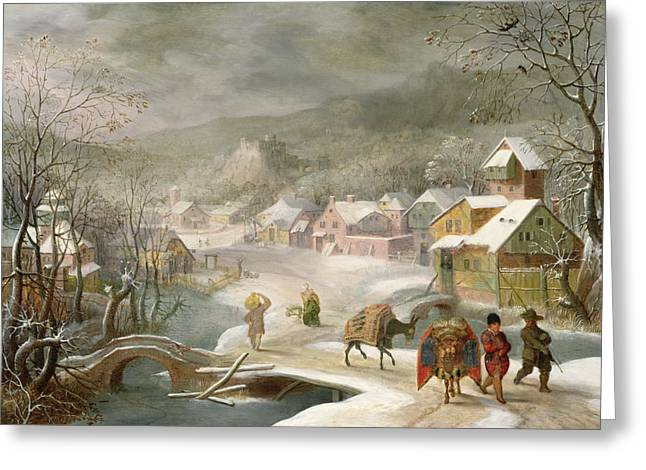 Winter Travel Paintings Greeting Cards - A Winter Landscape with Travellers on a Path Greeting Card by Denys van Alsloot