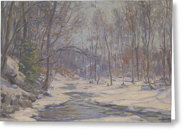 Snow Scene Landscape Greeting Cards - A Winter Morning  Greeting Card by Frank Townsend Hutchens