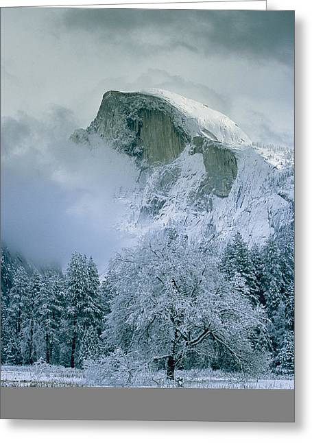 Park Scene Greeting Cards - A Winter View Of Half Dome Greeting Card by Marc Moritsch