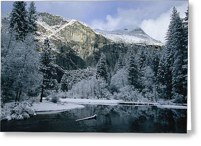 A Winter View Of The Merced River Greeting Card by Marc Moritsch