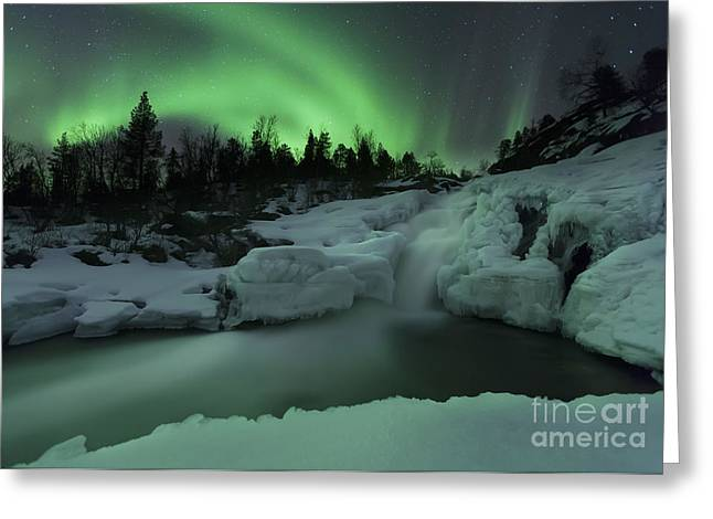 Scenic River Photography Greeting Cards - A Wintery Waterfall And Aurora Borealis Greeting Card by Arild Heitmann
