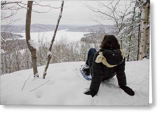 Real People Greeting Cards - A Woman Admires A View On A Winter Day Greeting Card by Taylor S. Kennedy