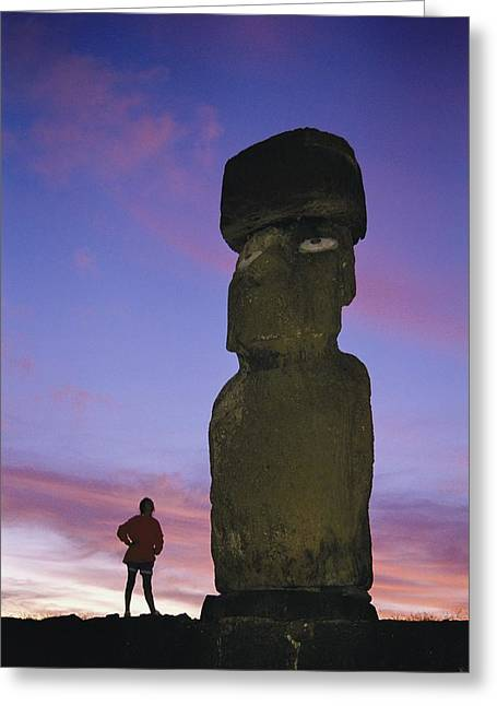 Monolith Greeting Cards - A Woman And A Monolithic Statue Greeting Card by Richard Nowitz