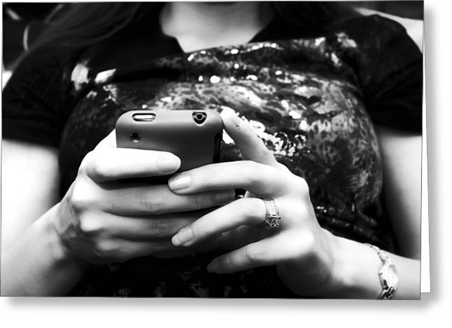 A Woman And Her Phone Greeting Card by Ricky Barnard