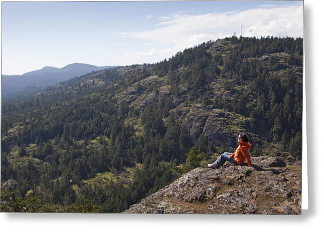Satisfaction Greeting Cards - A Woman Enjoys The View While Resting Greeting Card by Taylor S. Kennedy
