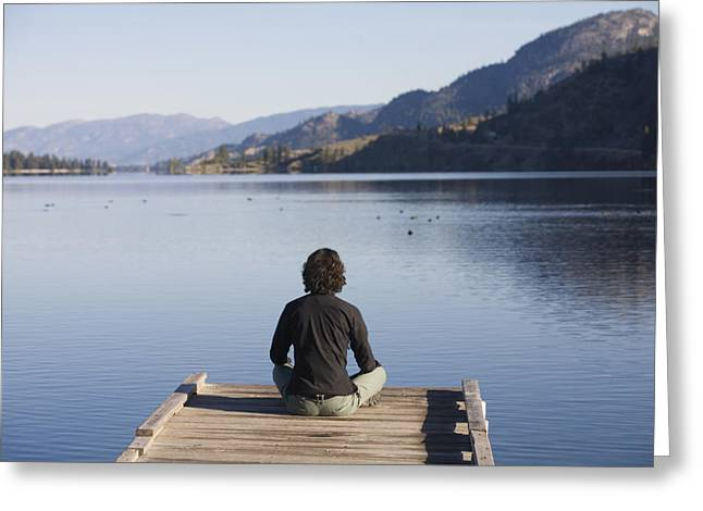 Okanagan Valley Greeting Cards - A Woman Enjoys Yoga And Relaxation Greeting Card by Taylor S. Kennedy