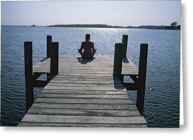 Jogging Greeting Cards - A Woman In A Yoga Pose At The End Greeting Card by Taylor S. Kennedy