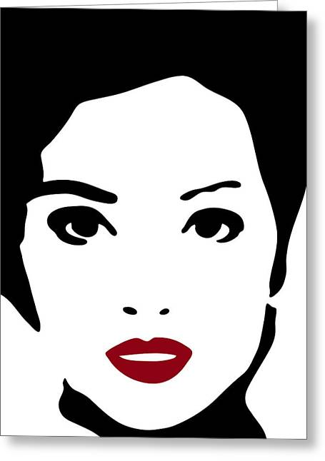 Stencil Portrait Greeting Cards - A woman in fashion Greeting Card by Frank Tschakert