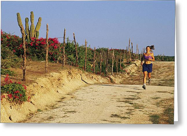 Jogging Greeting Cards - A Woman Jogs On A Dirt Road In Baja Greeting Card by Jimmy Chin