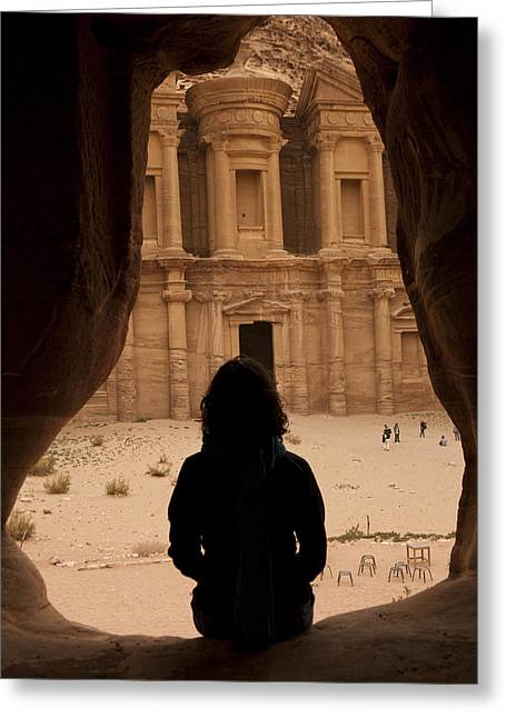 Serene People Greeting Cards - A Woman Looks Out At The Monastary Greeting Card by Taylor S. Kennedy