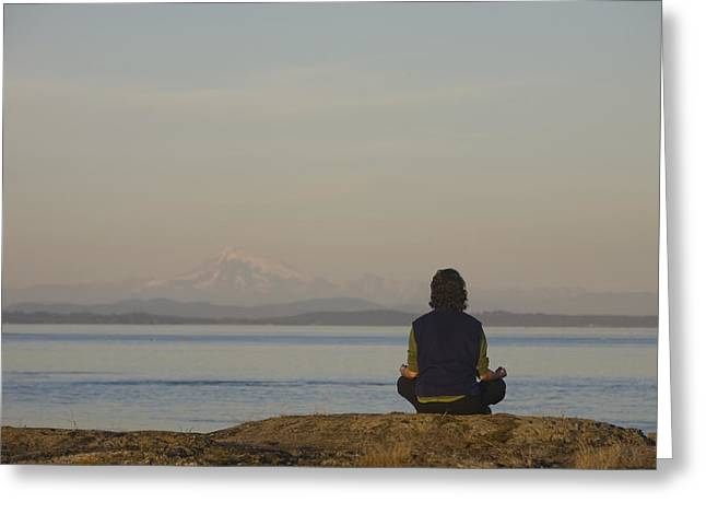 Baker Island Greeting Cards - A Woman Meditates Facing The Ocean Greeting Card by Taylor S. Kennedy
