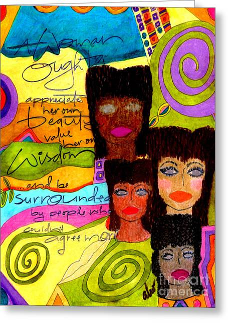 African-american Mixed Media Greeting Cards - A Woman Oughta Know... Greeting Card by Angela L Walker