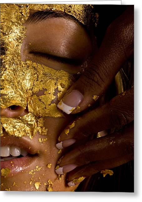 By Humans Greeting Cards - A Woman Receiving A Gold Facial Greeting Card by Randy Olson