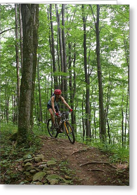 Knapsack Greeting Cards - A Woman Rides A Mountain Bike On Props Greeting Card by Skip Brown