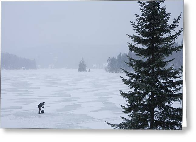 Initiative Greeting Cards - A Woman Shovels A Rink On A Lake Greeting Card by Taylor S. Kennedy