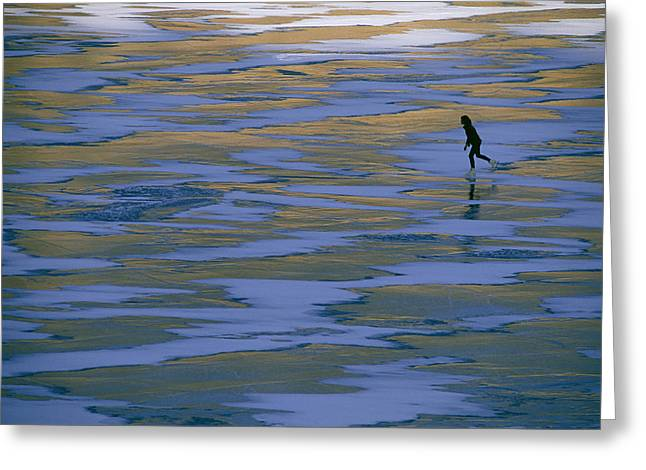 Model Colorado Greeting Cards - A Woman Skating On The Ice At Mcphee Greeting Card by Kate Thompson