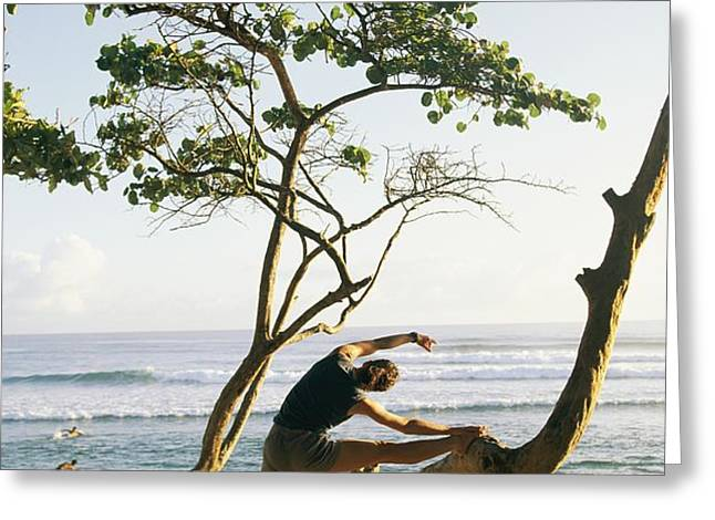 A Woman Stretches On A Beach Greeting Card by Skip Brown