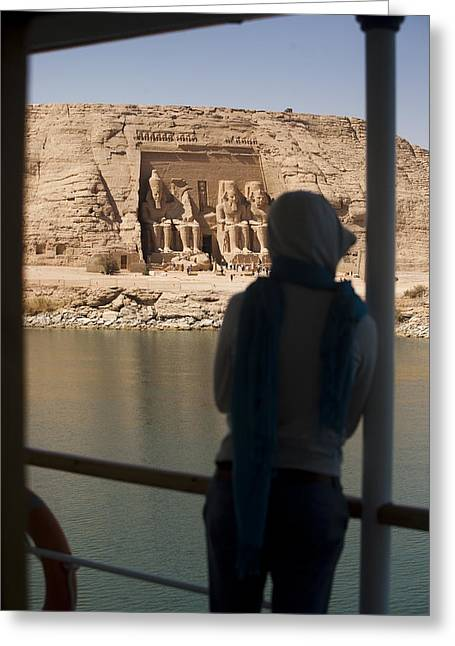 25-30 Years Greeting Cards - A Woman Watches The Temple Abu Simbel Greeting Card by Taylor S. Kennedy