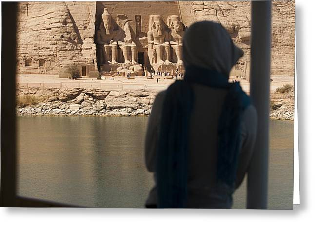 A Woman Watches The Temple Abu Simbel Greeting Card by Taylor S. Kennedy