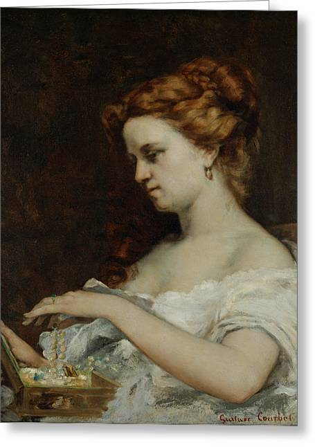 Jewellery Greeting Cards - A Woman with Jewellery Greeting Card by Gustave Courbet