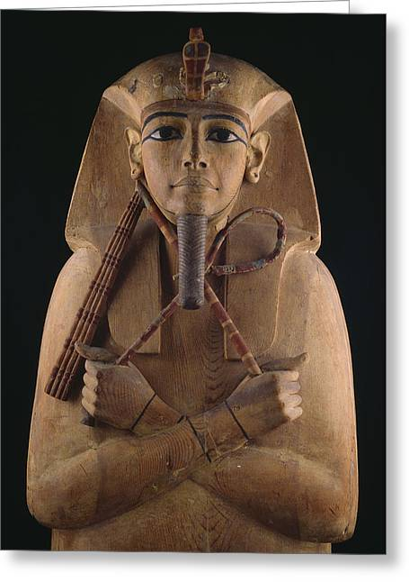 Pharaoh Greeting Cards - A Wooden Coffin Case Of The Pharaoh Greeting Card by O. Louis Mazzatenta