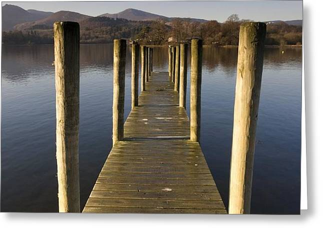 A Wooden Dock Going Into The Lake Greeting Card by John Short