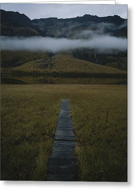 The Plateaus Greeting Cards - A Wooden Pathway Leads To An Greeting Card by Randy Olson