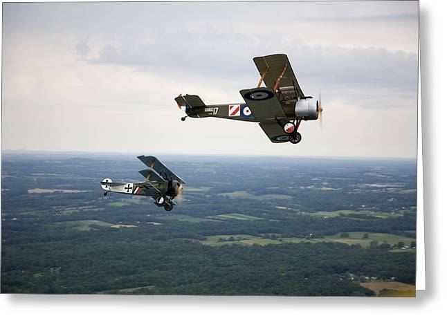 Fokker Dr-1 Greeting Cards - A Wwi Sopwith 1-12 Strutter Biplane Greeting Card by Pete Ryan