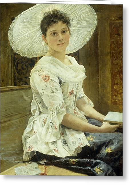 Woman In A Dress Paintings Greeting Cards - A Young Beauty in a White Hat  Greeting Card by Franz Xaver Simm