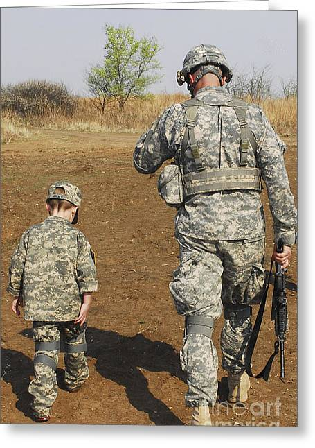 Bonding Greeting Cards - A Young Boy Joins His Squad Leader Greeting Card by Stocktrek Images
