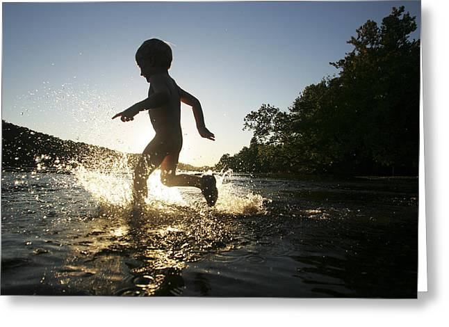 2-3 Years Greeting Cards - A Young Boy Plays In The Shallows Greeting Card by Skip Brown