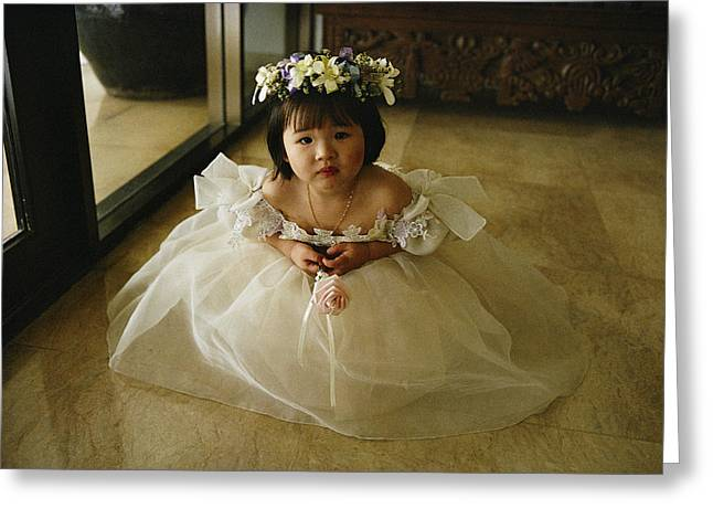 Toddler Girl Greeting Cards - A Young Chinese Filipino Girl Attends Greeting Card by Sisse Brimberg