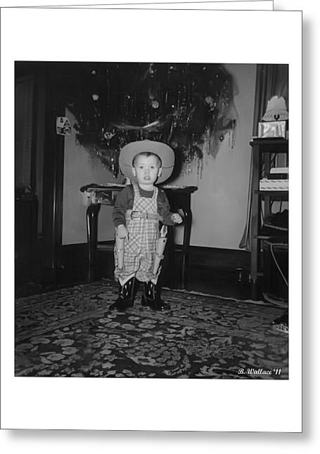 Cowboy Outfit Greeting Cards - A Young Christmas Greeting Card by Brian Wallace