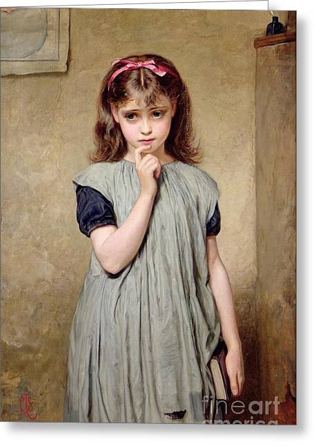 Charles Lidderdale Greeting Cards - A Young Girl in the Classroom Greeting Card by Charles Sillem Lidderdale