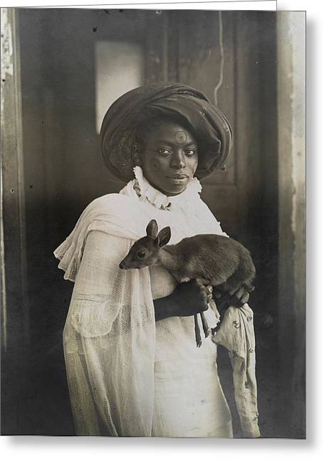 Image Collection Book Greeting Cards - A Young Kenyan Woman Holds Her Pet Deer Greeting Card by Underwood And Underwood