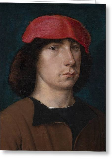 16th Century Greeting Cards - A Young Man in a Red Cap Greeting Card by Michiel Sittow