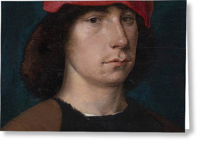 A Young Man in a Red Cap Greeting Card by Michiel Sittow