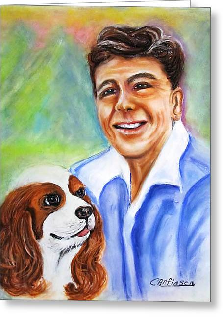 President Pastels Greeting Cards - A Young Ronald Reagan Greeting Card by Carol Allen Anfinsen