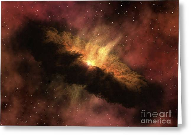 Disk Greeting Cards - A Young Star Surrounded By A Dusty Greeting Card by Stocktrek Images
