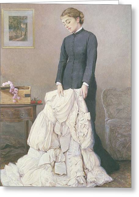 White Dress Greeting Cards - A Young Widow Greeting Card by Edward Killingworth Johnson