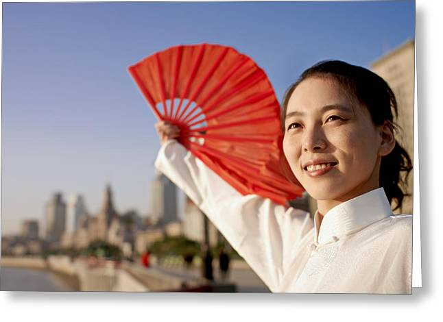 Bund Shanghai Greeting Cards - A Young Woman In A White Dress Greeting Card by Justin Guariglia