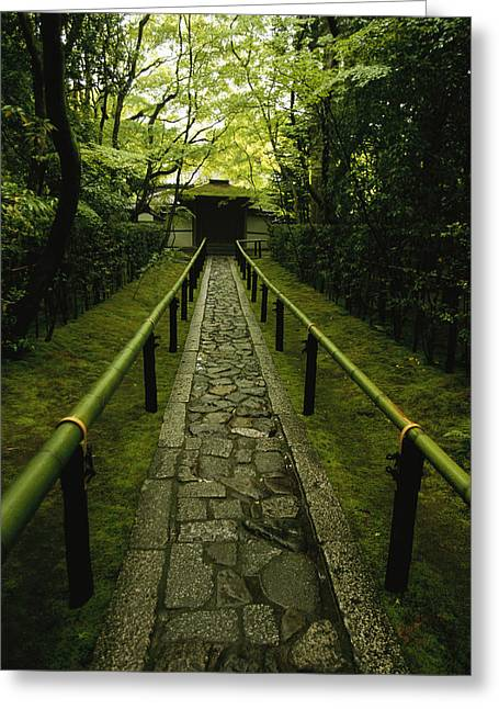 A Zen Path Leads To The  Entrance Greeting Card by Michael S. Yamashita