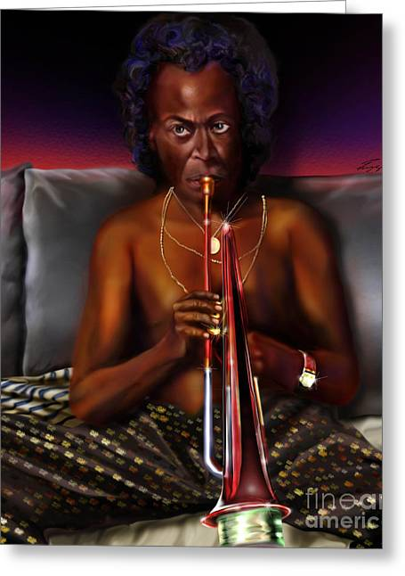 African-american Paintings Greeting Cards - A Zillion Miles From Here Greeting Card by Reggie Duffie