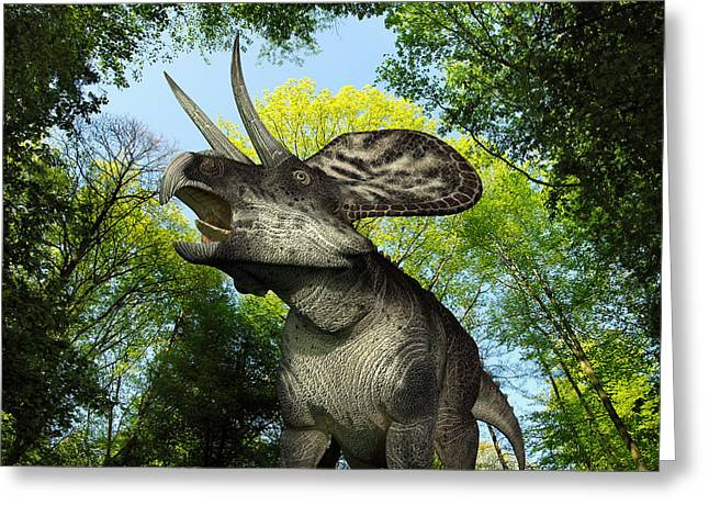 A Zuniceratops Wanders A Cretaceous Greeting Card by Walter Myers