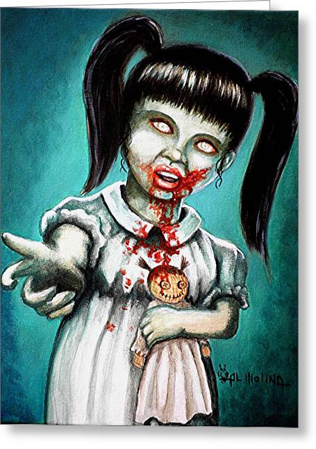 Creepy Paintings Greeting Cards - Aaarrgg Thats Zombie talk for Mommy Greeting Card by Al  Molina