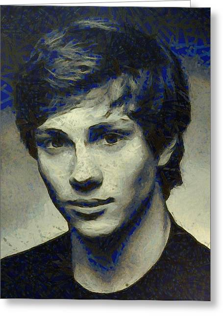 Celebrity Pastels Greeting Cards - Aaron Johnson Greeting Card by Aaron Stokes