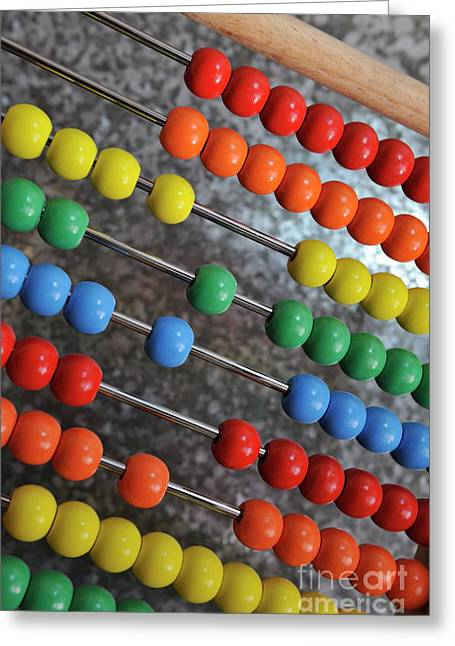 Abacus With Multicoloured Beads Greeting Card by Sami Sarkis