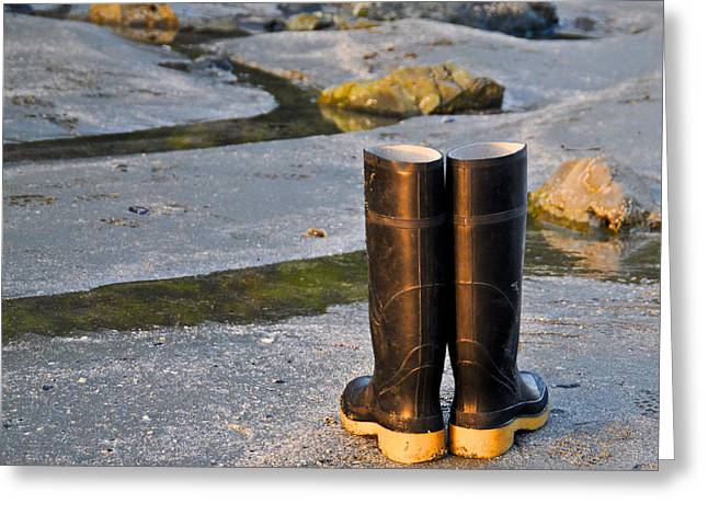 Wellingtons Greeting Cards - Abandoned Boots Greeting Card by Geraldine Alexander