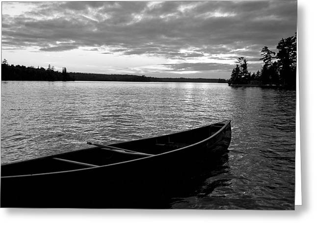 Absence Greeting Cards - Abandoned Canoe Floating On Water Greeting Card by Keith Levit